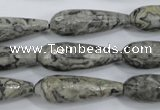 CPT137 15.5 inches 10*30mm faceted teardrop grey picture jasper beads