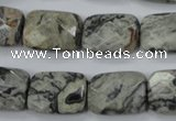 CPT154 15.5 inches 13*18mm faceted rectangle grey picture jasper beads