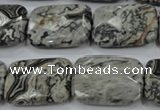 CPT156 15.5 inches 18*25mm faceted rectangle grey picture jasper beads
