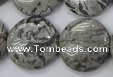 CPT168 15.5 inches 25mm flat round grey picture jasper beads