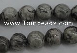 CPT188 15.5 inches 8mm round grey picture jasper beads wholesale