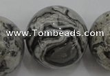 CPT193 15.5 inches 20mm round grey picture jasper beads wholesale