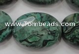 CPT243 15.5 inches 22*30mm faceted oval green picture jasper beads