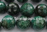 CPT304 15.5 inches 18mm faceted round green picture jasper beads