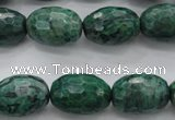 CPT305 15.5 inches 13*18mm faceted rice green picture jasper beads