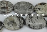 CPT356 15.5 inches 18*25mm oval grey picture jasper beads