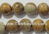 CPT456 15.5 inches 16mm round picture jasper beads wholesale