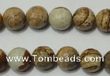 CPT503 15.5 inches 10mm faceted round picture jasper beads wholesale