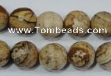 CPT505 15.5 inches 14mm faceted round picture jasper beads wholesale