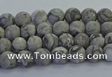 CPT570 15.5 inches 4mm round matte grey picture jasper beads