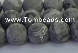 CPT573 15.5 inches 10mm round matte grey picture jasper beads