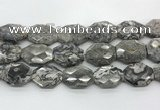CPT581 20*30mm - 22*32mm faceted octagonal grey picture jasper beads
