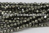 CPY03 16 inches 4mm faceted round pyrite gemstone beads wholesale