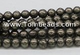 CPY05 16 inches 6mm round pyrite gemstone beads wholesale