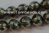 CPY107 15.5 inches 8mm faceted round pyrite gemstone beads wholesale