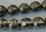 CPY111 15.5 inches 16mm faceted round pyrite gemstone beads wholesale