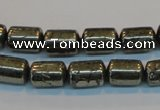 CPY122 15.5 inches 8*12mm tube pyrite gemstone beads wholesale