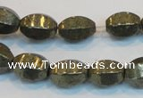 CPY145 15.5 inches 10*14mm rice pyrite gemstone beads wholesale