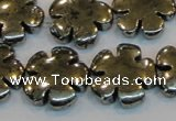 CPY165 15.5 inches 20mm carved flower pyrite gemstone beads wholesale