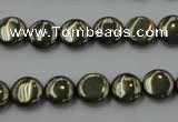 CPY221 15.5 inches 10mm flat round pyrite gemstone beads wholesale