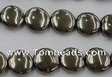 CPY222 15.5 inches 12mm flat round pyrite gemstone beads wholesale