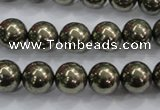 CPY24 16 inches 12mm round pyrite gemstone beads wholesale