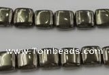 CPY250 15.5 inches 10*10mm square pyrite gemstone beads wholesale