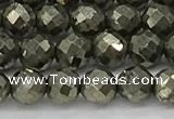 CPY265 15.5 inches 4mm faceted round pyrite gemstone beads