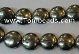 CPY302 15.5 inches 12mm flat round pyrite gemstone beads wholesale
