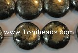 CPY305 15.5 inches 20mm flat round pyrite gemstone beads wholesale
