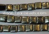 CPY315 15.5 inches 8*8mm square pyrite gemstone beads wholesale