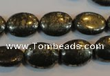 CPY33 16 inches 12*16mm oval pyrite gemstone beads wholesale