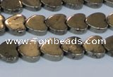 CPY332 15.5 inches 10*10mm heart pyrite gemstone beads