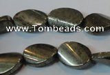 CPY335 15.5 inches 13*18mm twisted oval pyrite gemstone beads