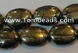 CPY34 16 inches 15*20mm oval pyrite gemstone beads wholesale