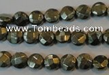 CPY341 15.5 inches 8mm faceted coin pyrite gemstone beads wholesale