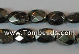 CPY343 15.5 inches 10*14mm faceted oval pyrite gemstone beads wholesale