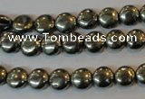 CPY35 16 inches 8mm coin pyrite gemstone beads wholesale