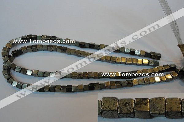 CPY351 15.5 inches 6*6mm cube pyrite gemstone beads wholesale