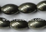 CPY367 15.5 inches 10*16mm rice pyrite gemstone beads wholesale