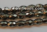 CPY371 15 inches 6*8mm faceted rice pyrite gemstone beads