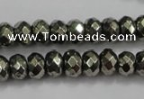CPY40 16 inches 4*8mm faceted rondelle pyrite gemstone beads wholesale