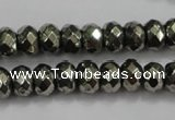 CPY41 16 inches 5*10mm faceted rondelle pyrite gemstone beads wholesale