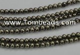 CPY45 16 inches 4mm round pyrite gemstone beads wholesale