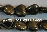 CPY52 16 inches 12*12mm heart pyrite gemstone beads wholesale
