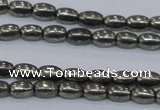 CPY596 15.5 inches 4*6mm rice pyrite gemstone beads wholesale