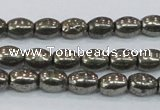 CPY597 15.5 inches 6*8mm rice pyrite gemstone beads wholesale