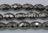 CPY603 15.5 inches 8*12mm faceted rice pyrite gemstone beads