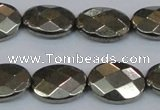 CPY632 15.5 inches 12*16mm faceted oval pyrite gemstone beads