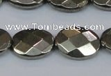 CPY633 15.5 inches 15*20mm faceted oval pyrite gemstone beads
